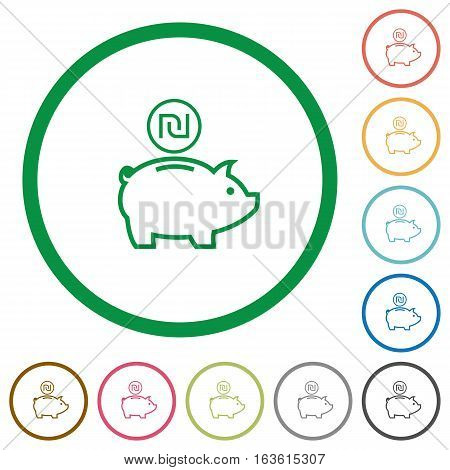 Israeli new Shekel piggy bank flat color icons in round outlines on white background