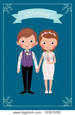 Happy just married bride and groom Stock cartoon vector illustration