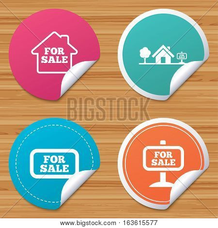 Round stickers or website banners. For sale icons. Real estate selling signs. Home house symbol. Circle badges with bended corner. Vector