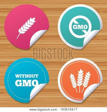 Round stickers or website banners. Agricultural icons. Gluten free or No gluten signs. Without Genetically modified food symbols. Circle badges with bended corner. Vector