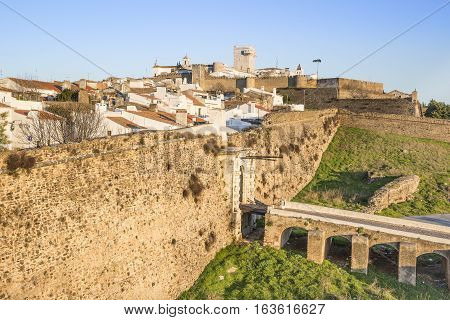 a view of Estremoz city, the city wall and the castle, Évora District, Portugal