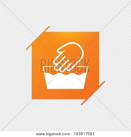 Hand wash sign icon. Not machine washable symbol. Orange square label on pattern. Vector