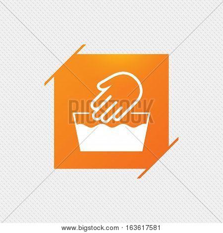 Hand wash sign icon. Not machine washable symbol. Orange square label on pattern. Vector