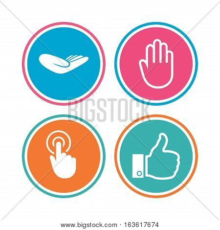 Hand icons. Like thumb up symbol. Click here press sign. Helping donation hand. Colored circle buttons. Vector