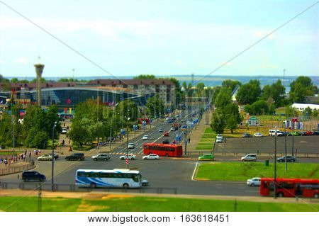 city Kazan Tatarstan Russia. view with tilt-shift effect