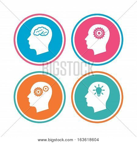Head with brain and idea lamp bulb icons. Male human think symbols. Cogwheel gears signs. Colored circle buttons. Vector