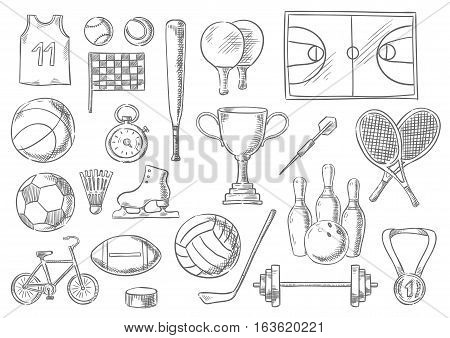 Sport sketch isolated items. Vector balls and sportive equipment. Basketball t-shirt, checkered flag, tennis balls, shuttlecock and rackets, playing soccer football filed, skating champion prize cup, weightlifting dumbbell and barbell, hockey puck