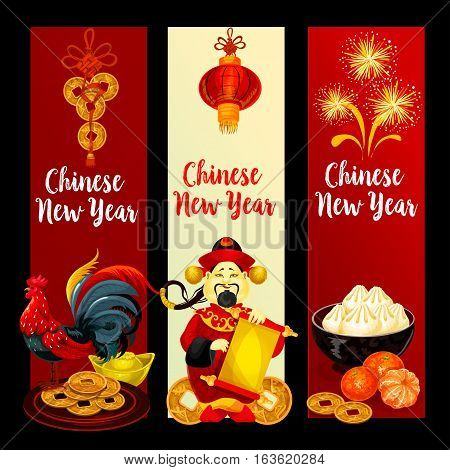 Chinese New Year festive banner set. Rooster, god of prosperity with paper scroll, red lantern, golden coin, mandarin fruit, firework, gold ingot and dumplings. Chinese New Year holidays theme design