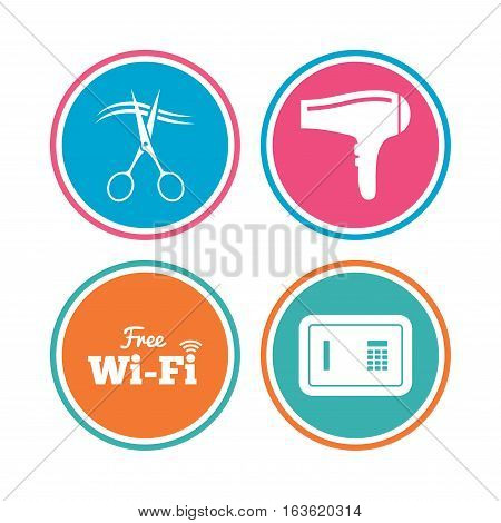 Hotel services icons. Wi-fi, Hairdryer and deposit lock in room signs. Wireless Network. Hairdresser or barbershop symbol. Colored circle buttons. Vector
