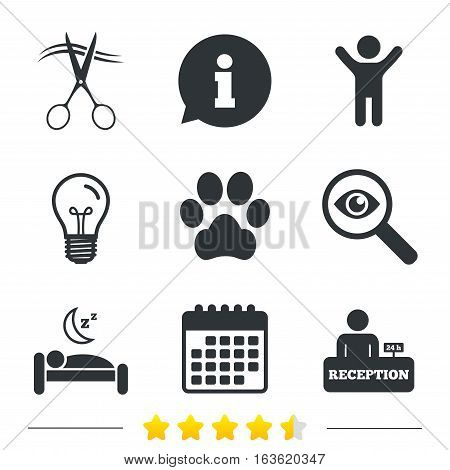 Hotel services icons. With pets allowed in room signs. Hairdresser or barbershop symbol. Reception registration table. Quiet sleep. Information, light bulb and calendar icons. Investigate magnifier