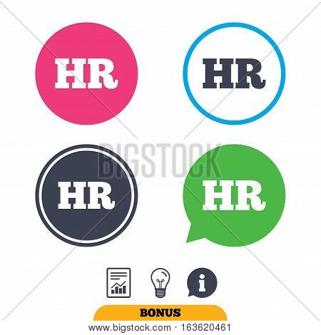 Human resources sign icon. HR symbol. Workforce of business organization. Report document, information sign and light bulb icons. Vector