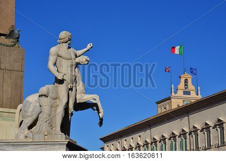 Quirinal Hill with Horse Tamers ancient roman statue and President of Italian Republic official residence in Rome