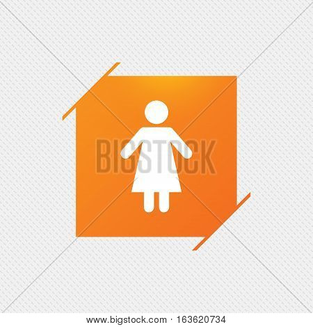 Female sign icon. Woman human symbol. Women toilet. Orange square label on pattern. Vector