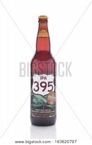 IRVINE CALIFORNIA - JANUARY 1 2017: IPA 395. The Double India Pale Ale is brewed by the Mammoth Brewing Company with Juniper berries and sage.