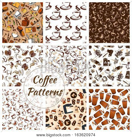 Coffee patterns set of vector coffee bean, cup of hot cappuccino or moka, sweet cupcakes and biscuits, cakes and muffins, coffee mill or grinder and coffee maker, chocolate desserts, turkish pot cezve. Seamless background for cafe, cafeteria
