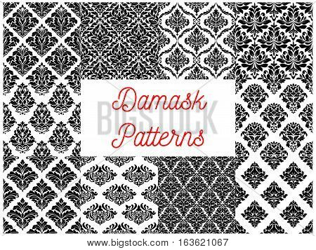 Damask patterns set. Vector floral embellishment and tracery motif. Luxury flowery backdrops and ornate ornament tiles. Vector seamless flourish baroque background with rococo design
