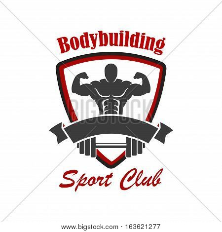Bodybuilding vector icon. Gym, sport club sign or badge for crossfit gym, fitness club with muscleman, weightlifter athlete with dumbbell or iron barbell, ribbon, star in shield shape
