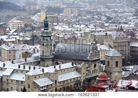 Winter Day in Lviv. View of the central part of the city and churches Lviv from the observation deck of the tower City council.
