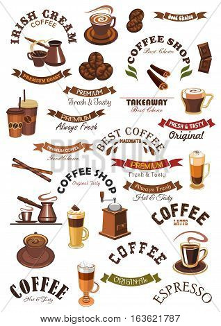 Coffee shop isolated signs, emblems and ribbons. Vector icons of hot espresso cup, roasted coffee beans grinder, cappuccino or moka latte mug, cinnamon with chocolate, creamy moka, biscuit and chocolate dessert. Vector badges for cafe, cafeteria