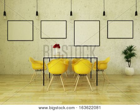 3d render of beautiful dining table with yellow chairs on wooden floor in front of a concrete wall with picture frames and suspended lights