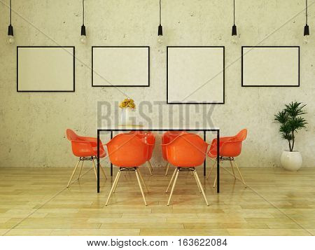 3d render of beautiful dining table with orange chairs on wooden floor in front of a concrete wall with picture frames and suspended lights