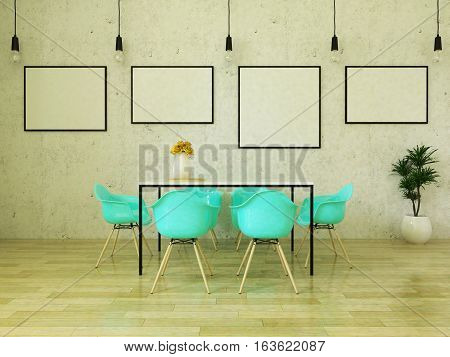 3d render of beautiful dining table with turquoise chairs on wooden floor in front of a concrete wall with picture frames and suspended lights