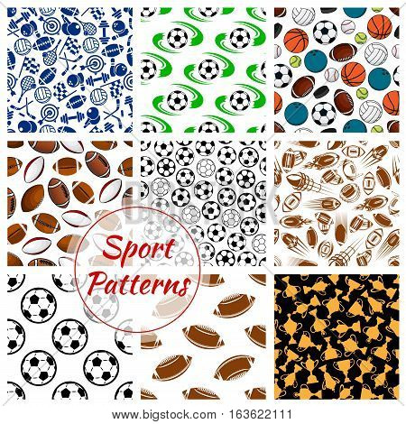Sport patterns set of balls and sports gaming items of soccer football, volleyball and basketball, rugby and bowling, tennis rackets, skates darts and hockey puck, fitness dumbbells with gold cup awards. Vector seamless background