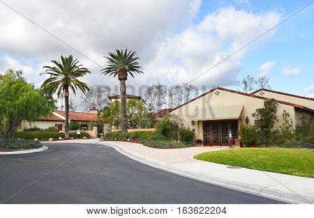 IRVINE CALIFORNIA - JANUARY 1 2017: Oak Creek Golf Club. The Tom Fazio designed course includes a golf school pro shop and facilities for events and weddings.