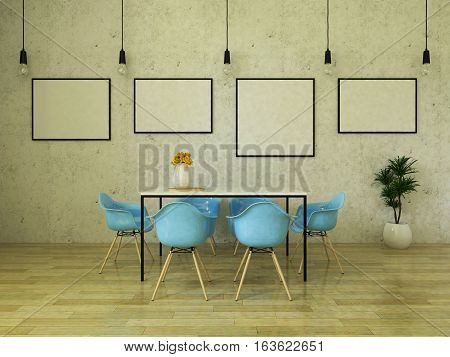 3d render of beautiful dining table with sky blue chairs on wooden floor in front of a concrete wall with picture frames and suspended lights