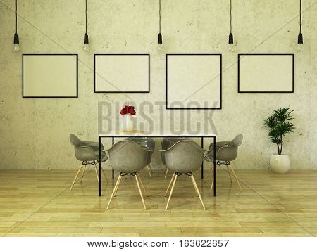 3D render of beautiful dining table with gray chairs on wooden floor in front of a concrete wall with picture frames and suspended lights