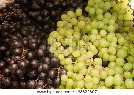 Background of blue and green grapes, stock photo