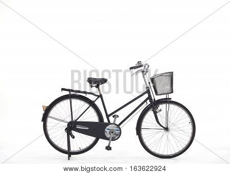 Black bicycle old maid for second hand from Japan isolated on white background