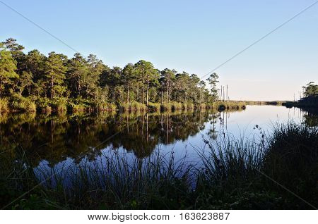 Reflections in an Ocean Inlet at Grayton Beach, Florida