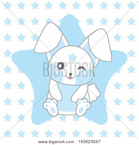Baby shower illustration with cute blue rabbit on stars background suitable for baby shower invitation card, postcard, and nursery wall