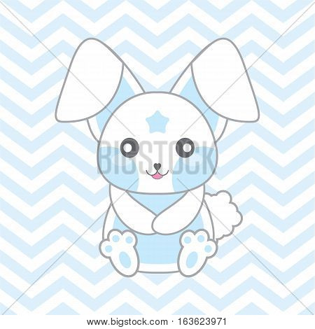 Baby shower illustration with cute blue rabbit on chevron background suitable for baby shower invitation card, postcard, and nursery wall