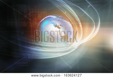 Global Economic Problems with Analytical Graph in Background Earth Globe in Center Covered by Wave Lines.