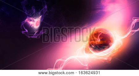 Celestial Art Planets Evolution in Outer Space Red Planet Life Begins with Electrical Waving Lines through Deep Space.