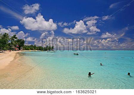 Matira Beach on Bora Bora island in French Polynesia (Tahiti).
