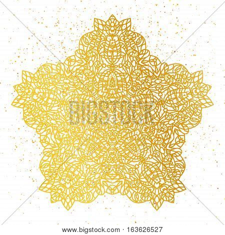 Golden foil Floral mandala. Gold Tribal ethnic henna ornament. Arabic, Indian, East, Islam, Thai decorative motifs. Round element for coloring book. Orient, symmetry Wedding lace, meditation symbol.