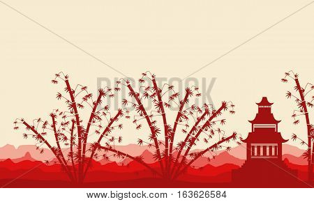 Bamboo tree and pavilion silhouette of landscape vector