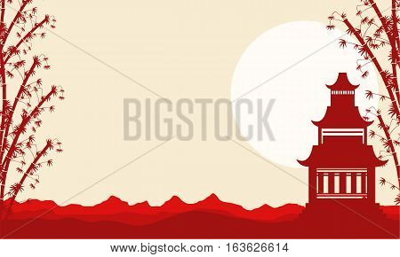 Collection landscape of pavilion Chinese theme vector illustartion