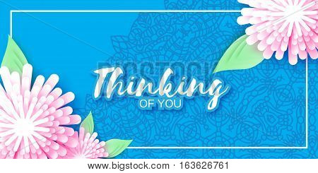 Origami Pink Flowers. Abstract 3D Paper cut Floral Greeting card for women. Blue Holiday background with space for text . Rectangle frame. Mandala. Trendy Design Template. Vector illustration.