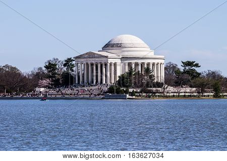 Tourists visiting the Jefferson Memorial in Washington, DC.