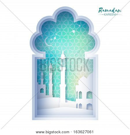 Blue Origami Mosque Window Ramadan Kareem Greeting card with arabic arabesque geometric pattern. Holy month of muslim. Symbol of Islam. Paper craft Vector illustration.