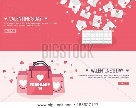 Vector illustration. Flat background with shopping bags, keyboard. Message. Love, hearts. Valentines day. Be my valentine. 14 february.