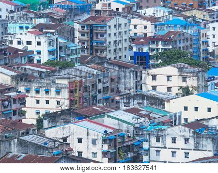 Residential area in downtown Yangon the capital of Myanmar.