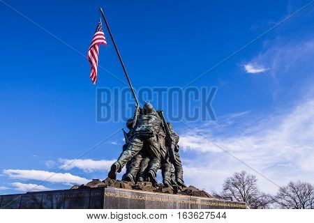 ARLINGTON, VIRGINIA - APRIL 6, 2014: Marine Corps War Memorial (Iwo Jima Memorial) by sculpture Felix W. de Weldon.