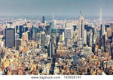 New York City USA - October 5 2016: New York Uptown panorama at the afternoon. With a Census-estimated population of over 8.4 million in 2013 is the most populous city in the United States.