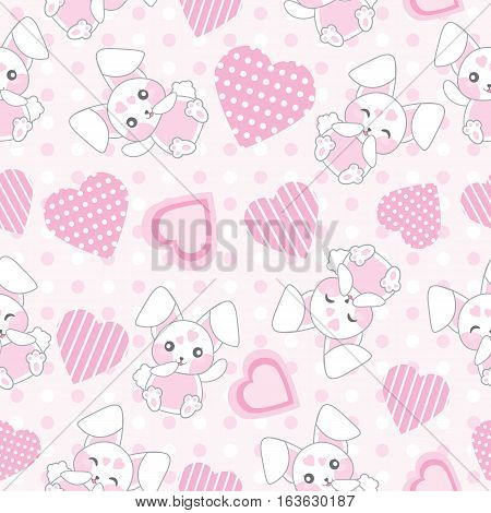 Seamless background of Valentine's day illustration with cute pink bunny with love shape on polka dot background suitable for Valentine's scrap paper, wrapping paper, and wallpaper