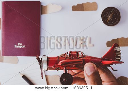 Go on an adventure, Overhead view of Traveler's accessories, Essential vacation items, Travel concept background, vintage background, love story, selective focus, go to see the world